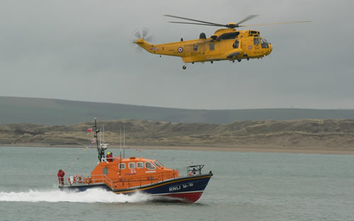 "ILB ""Mollie Hunt"" arriving at Appledore for the first time - escorted by Royal Navy helicopter."